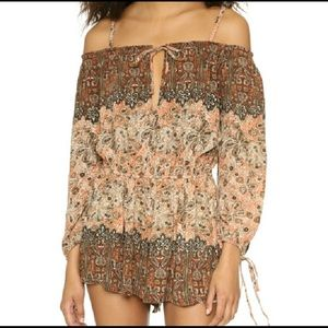 FREE PEOPLE | off the shoulder romper in apricot